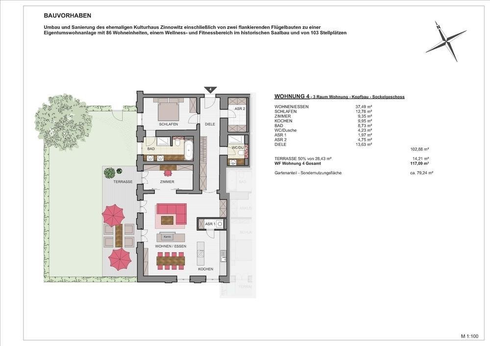 Kulturhaus Zinnowitz – Wohnen.Wellness.Insel Usedom, 17454 Zinnowitz, Erdgeschosswohnung